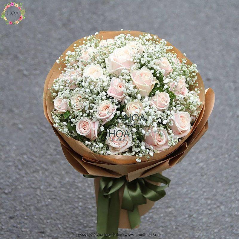 Ý nghĩa của hoa baby - Hoa baby xen kẽ hoa hồng phớt