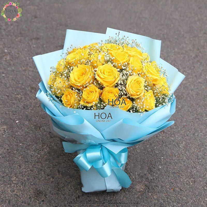 Ý nghĩa của hoa baby - Hoa baby kết hợp với hoa hồng vàng